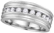 10kt White Gold Mens Round Channel-set Diamond Ridged Wedding Band 1/2 Cttw
