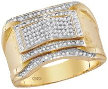 10kt Yellow Gold Mens Round Diamond Contoured Arch Cluster Ring 1/3 Cttw