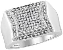 10kt White Gold Mens Round Diamond Indented Square Cluster Ring 1/3 Cttw