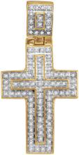 10kt Yellow Gold Mens Round Diamond Christian Cross Layered Charm Pendant 1/4 Cttw