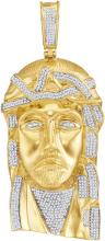 10kt Yellow Gold Mens Round Diamond Jesus Christ Messiah Charm Pendant 1-5/8 Cttw