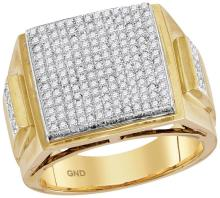 10kt Yellow Gold Mens Round Prong-set Diamond Triple Square Cluster Ring 1-1/3 Cttw