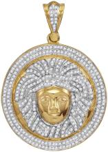 10kt Yellow Gold Mens Round Diamond Gorgon Medusa Circle Medallion Charm Pendant 1.00 Cttw