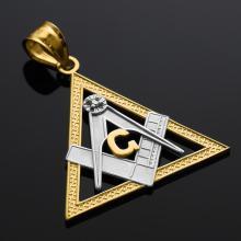 10K Two-Tone Gold Triangle Freemason Diamond Masonic Pendant