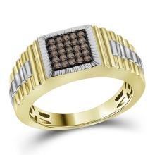 10kt Yellow Gold Mens Round Cognac-brown Colored Diamond Square Cluster Ribbed Ring 1/4 Cttw