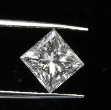 GIA CERTIFIED 0.96 CTW PRINCESS DIAMOND K/SI1