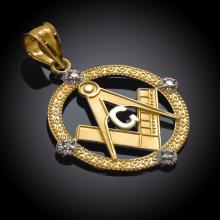 10K Yellow Gold Round Freemason Diamond Masonic Pendant