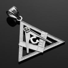 10K White Gold Triangle Freemason Diamond Masonic Pendant