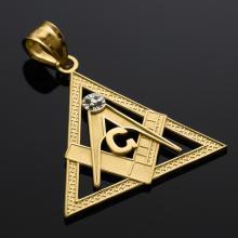 10K Yellow Gold Triangle Freemason Diamond Masonic Pendant