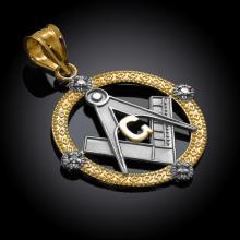 10K Two-Tone Gold Round Freemason Diamond Masonic Pendant