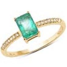 0.60 Carat Genuine Zambian Emerald and White Diamond 14K Yellow Gold Ring