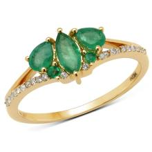 0.64 Carat Genuine Zambian Emerald and White Diamond 14K Yellow Gold Ring