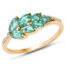 0.69 Carat Genuine Zambian Emerald and White Diamond 14K Yellow Gold Ring