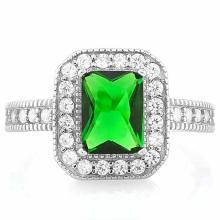 1 4/5 CARAT CREATED EMERALD & 1/3 CARAT (34 PCS) FLAWLESS CREATED DIAMOND 925 STERLING SILVER HALO RING