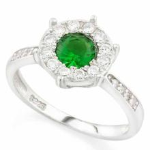 1 CARAT CREATED EMERALD & 1/4 CARAT (24 PCS) FLAWLESS CREATED DIAMOND 925 STERLING SILVER HALO RING
