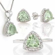 4 1/5 CARAT GREEN AMETHYST & DIAMOND 925 STERLING SILVER SET
