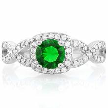 1 CARAT CREATED EMERALD & 1/2 CARAT (48 PCS) FLAWLESS CREATED DIAMOND 925 STERLING SILVER HALO RING