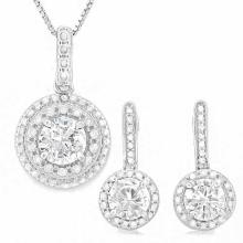 4 CARAT CREATED WHITE SAPPHIRES & GENUINE DIAMONDS 925 STERLING SILVER