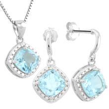 3 3/5 CARAT BABY SWISS BLUE TOPAZ & DIAMOND 925 STERLING SILVER SET