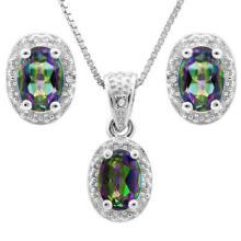 1 4/5 CARAT OCEAN MYSTIC GEMSTONE & DIAMOND 925 STERLING SILVER SET