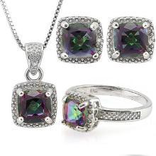 4 CARAT MYSTIC GEMSTONE & DIAMOND 925 STERLING SILVER SET