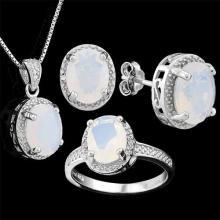 6 CARAT CREATED FIRE OPAL & DIAMOND 925 STERLING SILVER SET