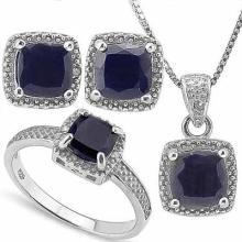 4 3/5 CARAT BLACK SAPPHIRE & DIAMOND 925 STERLING SILVER SET