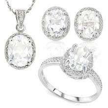 8 1/4 CARAT WHITE TOPAZ & DIAMOND 925 STERLING SILVER SET