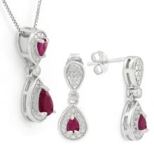 1 CARAT RUBY 925 STERLING SILVER SET ( No chain comes with this set)