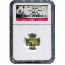 Chinese Gold Panda 20th Ounce 2013 NGC MS70 Early Releases