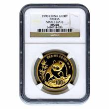 Certified One Ounce Chinese Gold Panda 1990 Small Date MS68 NGC