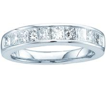 14kt White Gold Womens Princess Channel-set Diamond 3mm Single Row Wedding Band 1/2 Cttw - Size 5