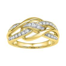 10kt Yellow Gold Womens Round Diamond Woven Knot Strand Band 1/4 Cttw