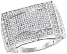 10kt White Gold Mens Round Pave-set Diamond Convex Dome Rectangle Cluster Ring 3/4 Cttw