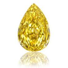 GIA CERTIFIED 0.44 CTW PEAR FANCY YELLOW DIAMOND SI1
