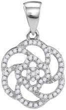 10kt White Gold Womens Round Diamond Pinwheel Geometric Cluster Pendant 1/4 Cttw