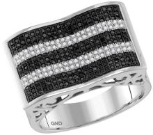 10kt White Gold Mens Round Black Colored Diamond Rectangle Stripe Cluster Ring 7/8 Cttw
