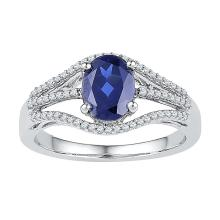 10kt White Gold Womens Oval Lab-Created Blue Sapphire Solitaire Diamond Ring 1-3/4 Cttw