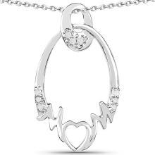 0.14 Carat Genuine White Diamond .925 Sterling Silver Pendant