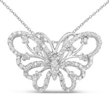 0.35 Carat Genuine White Diamond .925 Sterling Silver Pendant