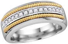 10kt White Gold Mens Round Pave-set Diamond Yellow-tone Rope Wedding Band 3/8 Cttw