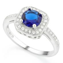 1 1/5 CARAT CREATED BLUE SAPPHIRE & 1/3 CARAT (36 PCS) FLAWLESS CREATED DIAMOND 925 STERLING SILVER HALO RING