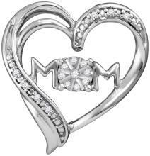 Sterling Silver Womens Round Diamond Mom Mother Heart Pendant 1/12 Cttw