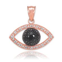 10K Rose Gold Evil Eye Pendant with Clear and Black Diamonds