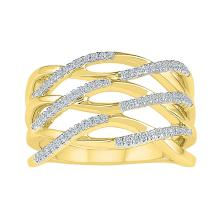 10kt Yellow Gold Womens Round Diamond Openwork Crossover Strand Band Ring 1/4 Cttw