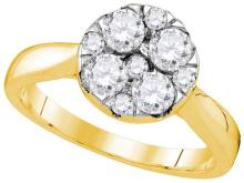 14kt Yellow Gold Womens Round Diamond Cluster Bridal Wedding Engagement Ring 1.00 Cttw