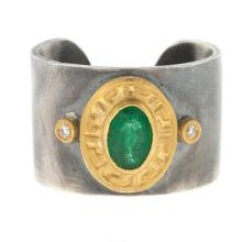 Silver-18KT-24KT Ring Emerald