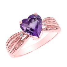 10K Rose Gold Amethyst and Diamond Proposal Ring APPROX 1.03 CTW