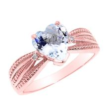 10K Rose Gold Aquamarine and Diamond Proposal Ring APPROX 1.03 CTW