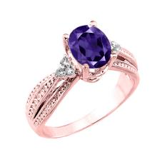10K Rose Gold Genuine Amethyst and Diamond Proposal Ring